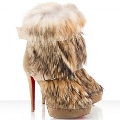 Christian Louboutin Toundra Fur Suede Ankle Boots Camel - $133.87
