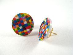Rainbow Patchwork Quilt Earrings Shrink by PeriwinkleNuthatch, $10.00