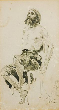 A study of a man sitting. 1891. Alfons Mucha