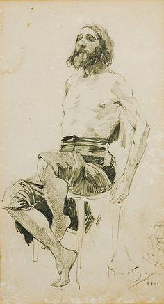 A study of a man sitting. 1891. Alfons Mucha