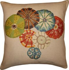 Hand Embroidered Sea Urchin Pillow