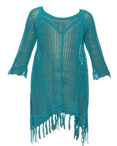 Swimsuit + Coverup: L*SPACE by Monica Wise Vista Fringe Beach Sweater in Peacock | CoastalLiving.com