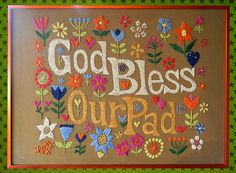 Groovy God Bless Our Pad Needlework 18x24 by ScarletCircus on Etsy, $38.00