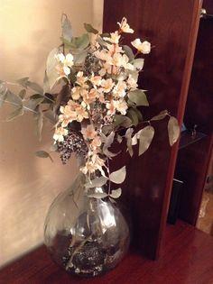 Centro de mimbre con flores secas y flor artificial - Jarrones flores artificiales ...