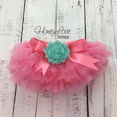 Coral Pink tutu skirt bloomers diaper cover, embellished Mint/Aqua shabby flower, ruffles all around newborn infant toddler little baby girl birthday photo shoot by HoneyLove Boutique