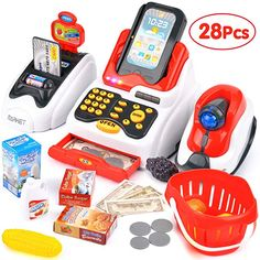 Victostar Toy Cash Register with Checkout Scanner,Fruit Card Reader, Credit Card Machine, Play Money and Food Shopping Play Set for Kids (Red) - Toys Little Girl Toys, Baby Girl Toys, Baby Dolls, Toy Cars For Kids, Toys For Girls, Kids Toys, Poupées Our Generation, Credit Card Machine, Christmas Presents For Kids
