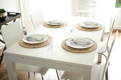 http://mykeminutter.blogspot.no:   Simple table setting: Place mats IKEA, napkins Tine K.