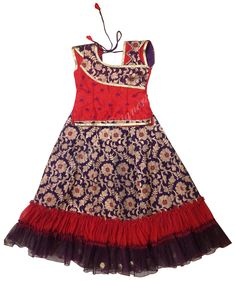 Pure benaras langa, pure raw silk blouse, soft double colour net border.fir 6 years baby price Rs.3900/- #parikini