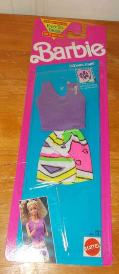 Vintage Barbie Dress Fashion Finds 2984 Purple Top Shorts New Old Stock Carded…