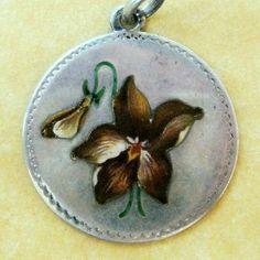 Antique German Art Nouveau Silver Enamel Violet or Orchid Flower Charm Pendant
