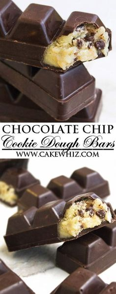 This quick and easy, no bake CHOCOLATE CHIP COOKIE DOUGH BARS recipe is secretly healthy. These raw eggless cookie dough bars are fun to make with kids and great as a homemade gift during Christmas ho (Baking Desserts Cookies) Just Desserts, Delicious Desserts, Yummy Food, Yummy Treats, Sweet Treats, Oreo Desserts, Plated Desserts, Fun Deserts To Make, Unique Desserts