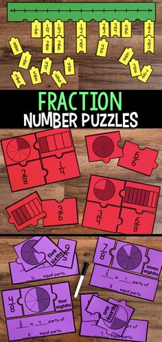 Engage students with a variety of Fraction Number Puzzles that provide practice with equivalent fractions, comparing fractions, and placing fractions on a number line. These are great for math stations or math centers. Comparing Fractions, Teaching Fractions, Math Fractions, Teaching Math, Equivalent Fractions, Dividing Fractions, Primary Teaching, Teaching Ideas, Math Resources