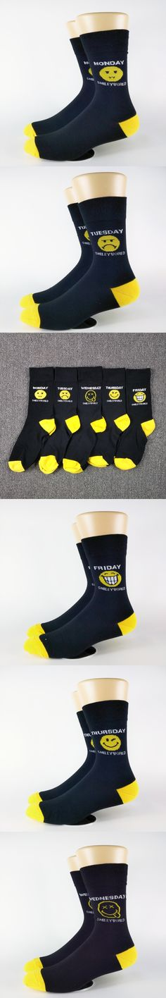 Men's Five Days Smiley Emoji Street Skate Casual Socks USA Size 6-9, Euro Size 39-42 (Thin Material)