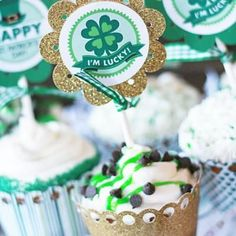 st. pat's cupcake topper printables