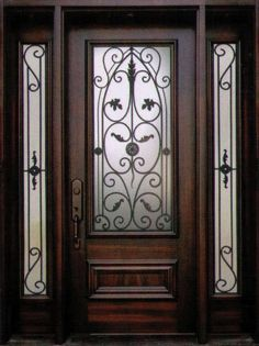 Front Door Insert Collection that will satisfy the taste of every individual. Made from the finest Canadian materials, our wrought iron front doors are unmatched in security, style and quality and they last for the years to come. Iron Front Door, Wooden Front Doors, Exterior Front Doors, Entrance Doors, Front Door Design, Front Door Colors, Front Door Decor, Gate Design, Wrought Iron Doors