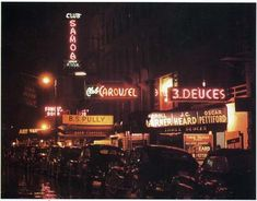 """The Street""  52nd street in New York City between 5th Avenue and Broadway during the 1940s – the hub of bebop jazz. Clubs included the Onyx, the Famous Door and the Three Deuces."