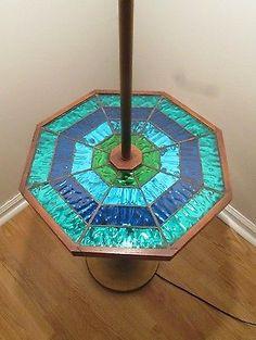 Rare-Mid-Century-Modern-Georges-Briard-Mosaic-w-Foil-Greens-Blues-Lamp-Table