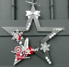 Dekohänger étoile en bois 10cm crème