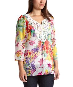 Look at this #zulilyfind! Garden Resort Embroidered V-Neck Top by Sienna Rose #zulilyfinds