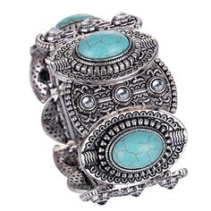 Yazilind Vintage Tibetan Silver Ethnic Gothic Oval Turquoise Inlay Wide Bangle Women Yazilind http://www.amazon.com/dp/B00LNCPM70/ref=cm_sw_r_pi_dp_zgctvb1YCSVHH