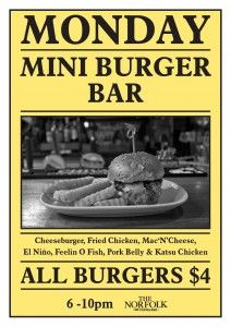 $4 / Eat / Surry Hills / Norfolk Hotel / $4 mini burger night - choice of 7 styles / thenorfolk.co / Mondays 6-10pm