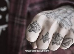Characters on finger tattoo art