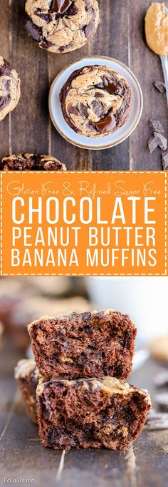 These Chocolate Peanut Butter Banana Muffins are loaded with chocolate chunks and have a peanut butter swirl - you'd never guess that they're gluten-free and the batter is sweetened entirely with bananas!