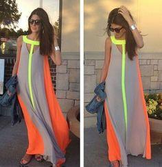 Grey Patchwork Color Block False 2-in-1 Round Neck Bohemian Chiffon Maxi Dress