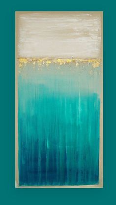 This is an original one of a kind acrylic abstract painting on gallery wrapped canvas with no visible staples by Ora Birenbaum. Gorgeous rich colors of sea foams that melt into deep shades of teal and ocean blues. The top portion has multiple layers of white and taupe with accents of