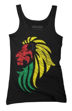 Lion Reggae Music Flag Colors Womens Tank Top