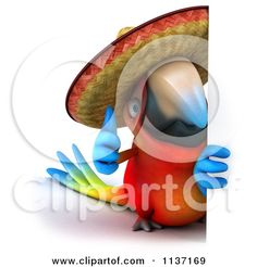 Clipart Of A 3d Thumb Up Macaw Parrot Wearing A Sombrero By A Sign - Royalty Free CGI Illustration by Julos