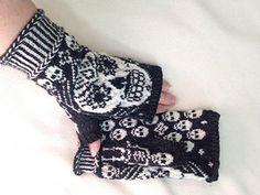 Ravelry: Sugar skull mittens pattern by JennyPenny Knitted Mittens Pattern, Knit Mittens, Knitted Gloves, Knitting Socks, Fingerless Gloves, Yarn Projects, Knitting Projects, Crochet Projects, Crochet Skull
