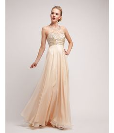 1920s Style Prom Dress -  Champagne Satin & Chiffon Beaded Gown 2015 Prom Dresses