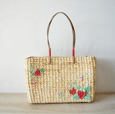 vintage 1960s raffia straw basket purse embellished by MyraMelinda, $15.00