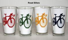 Road Bike Pint Glasses assorted colors set of 4