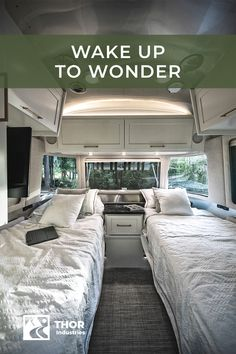 With RVing, you can always choose the room with a view. Answer a few simple questions to find the RV for your next adventure, based on how you plan to travel and options you prefer. Click to take the quiz! Travel Camper, Bus Camper, Camper Life, Rv Campers, Rv Life, Van Conversion Interior, Bus Rv Conversion, Camping Glamping, Van Camping