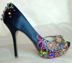 Gwendolyn 4.5 inch heel ... brilliant.. sparkling.. peep toed shoes for brides maids, prom or any special event on Wanelo