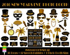 2017 new years eve photo booth propsprintable por happyfiestadesign
