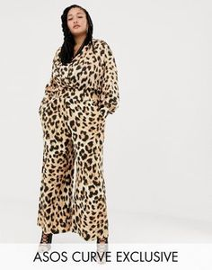 dc0369aa18 ASOS DESIGN x LaQuan Smith Curve wide leg pants in leopard print