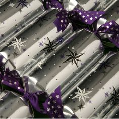 silver and purple Christmas crackers