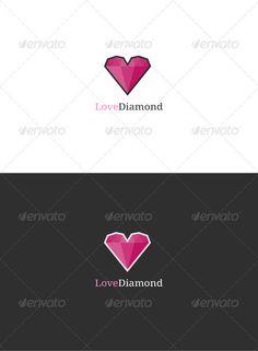 Love Diamond Logo  #GraphicRiver         Simple yet effective idea of a diamond heart.