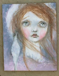 WELCOME and THANKS for stopping in to take a look at my new item      ♥ ♥ ♥heavenly saint ♥ ♥ ♥    measures 8X10♥ ♥  materials used:  acrylic paints