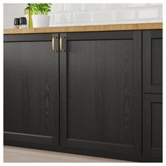 LERHYTTAN door/corner base cabinet set, black stained, LERHYTTAN door has a distinct traditional character, with a solid wood frame with bevelled edges and an inset veneer panel. LERHYTTAN creates a cozy kitchen with rustic charm. Staining Cabinets, Refacing Kitchen Cabinets, Cabinet Refacing, Kitchen Cabinet Remodel, Painting Kitchen Cabinets, Cabinet Makeover, Kitchen Renovations, Laundry Cabinets, Bath Cabinets