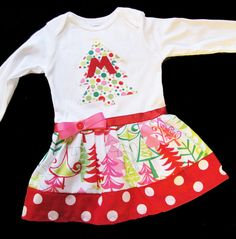 Onesie dress- idea different color/pattern skirt. Sewing Projects For Kids, Sewing For Kids, Baby Sewing, Sewing Ideas, Christmas Tree Onesie, Christmas Stuff, Christmas Ideas, Onesie Dress, Refashion
