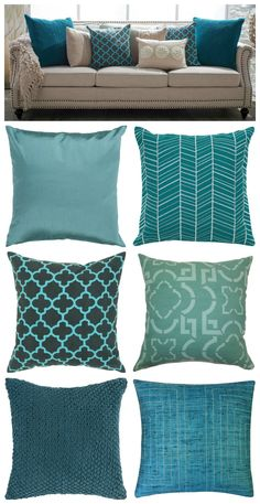 Teal pillows.