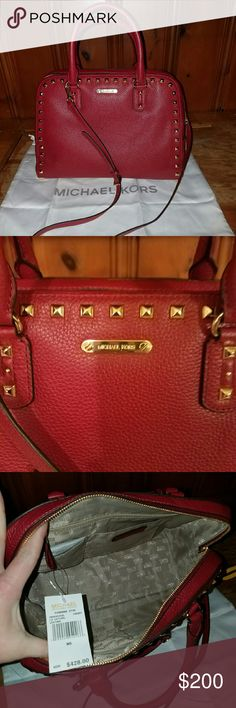 b0c181ffc15f Authentic MK SANDRINE STUDDED BAG BNWT CHERRY RED GOLD HARDWARE LONG  SHOULDER STRAP COMES WITH IT DUST BAG INCLUDED NEVER USED SMOKE FREE PET  FREE HOME ...