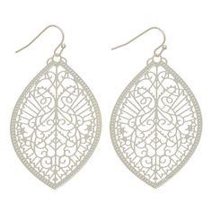 Wholesale matte silver fishhook earrings filigree