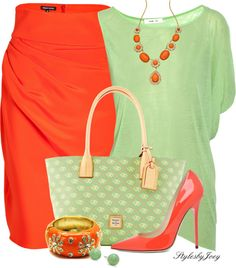 """Honeydew & Tangerine Skirt"" by stylesbyjoey on Polyvore. I may have found my Easter outfit"