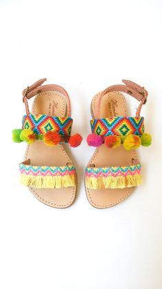 Kids Sandals | Girls Boho Sandals | Girls Pom Pom Sandals | Baby Ethnic Sandals…