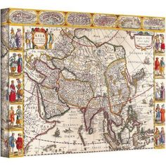 Guillaume Danet Map Of Asia Gallery-Wrapped Canvas, Size: 14 x 18, Multicolor